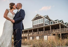 Outer Banks wedding couple at a Twiddy Event Home