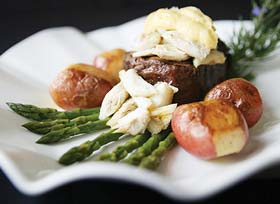 Basnights Lone Cedar steak crab dish
